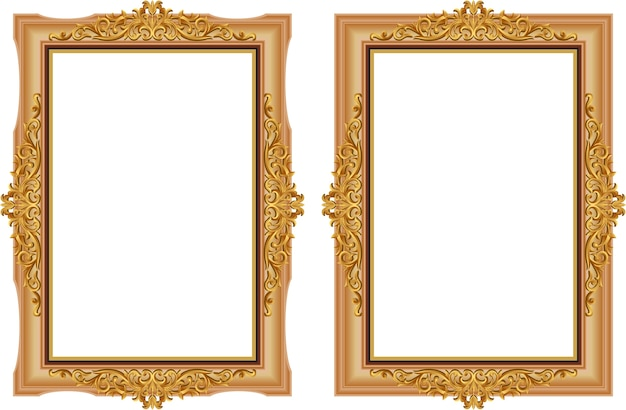 Decorative vintage of wood photo frame with corner thailand line floral for picture