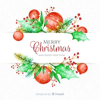 Decorative watercolor christmas background
