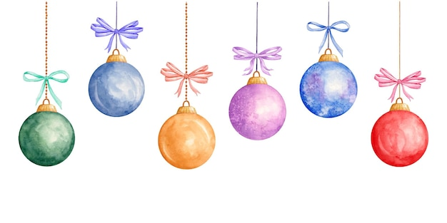 Декоративные акварельные новогодние шары фон с рождественским бантом