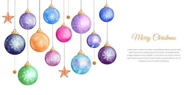 Декоративные акварельные новогодние шары фон