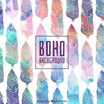 Decorative watercolor feather background in boho style