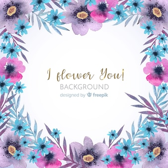 Decorative watercolor floral frame background