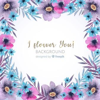 Decorative watercolor floral frame background