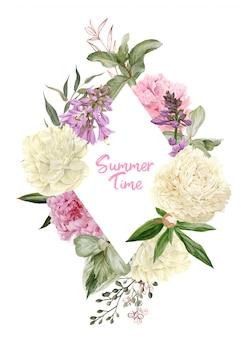 Декоративная акварель цветочная рамка, белые и розовые пионы