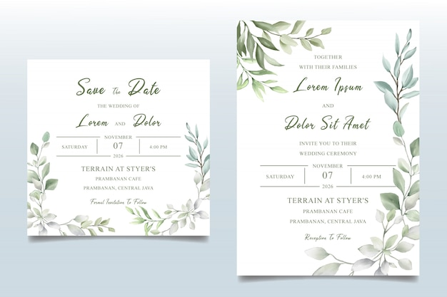 Decorative watercolor floral wedding invitation card