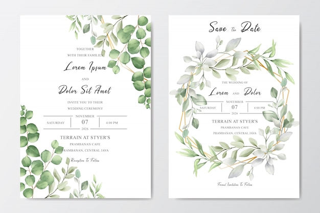 Decorative watercolor floral wedding invitation card