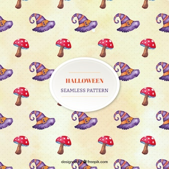 Decorative watercolor pattern with mushrooms and witch hats