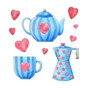 ピンクのハートと青の装飾的な水彩磁器。ティーカップ、ケトル、コーヒーマグ