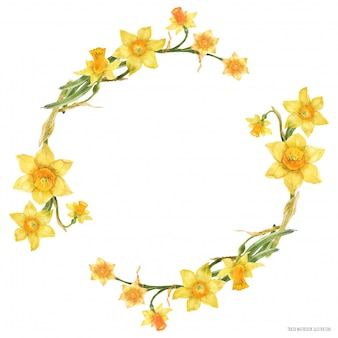 Decorative watercolor wreath with yellow daffodil flowers