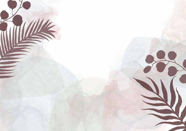 Decorative watercolour hand painted background with floral design 1806 Free Vector