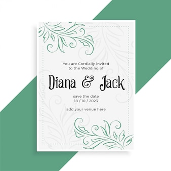 Decorative wedding card design invitation template