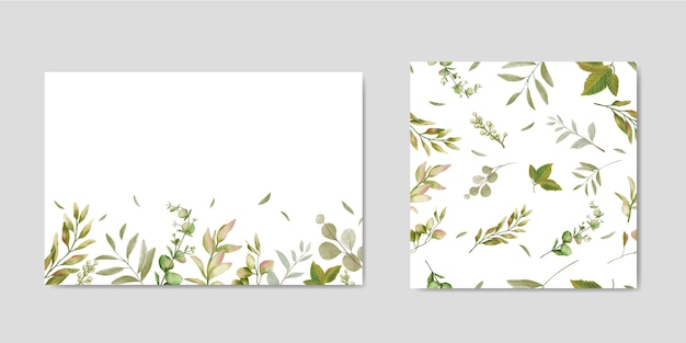 Decorative wedding invitation with leaves background & seamless