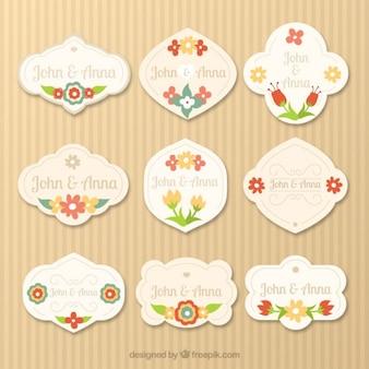Decorative wedding labels in vintage style Premium Vector