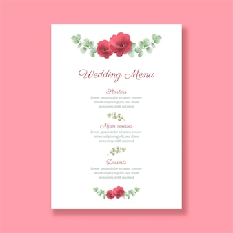 Decorative wedding menu with a hand painted floral design