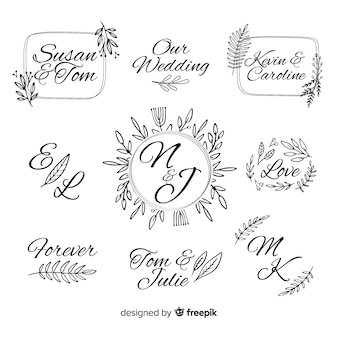 Decorative wedding monogram logo template