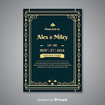 Decorative wedding template in art deco style