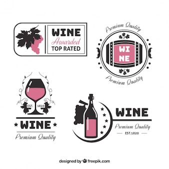 Decorative wine stickers in flat style