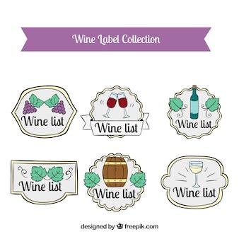 手描きのスタイルで装飾的なワインのステッカー