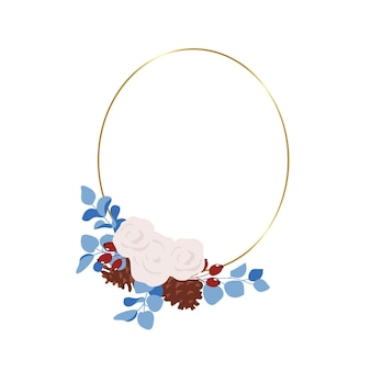 Decorative winter flower frame