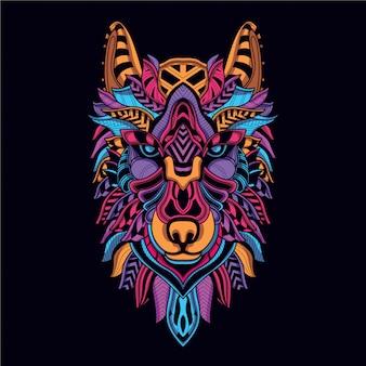 네온 컬러에서 장식 늑대 얼굴