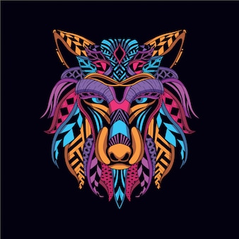 Decorative wolf face from neon color