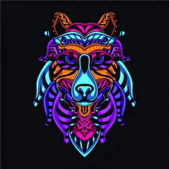 Decorative wolf in glow neon color