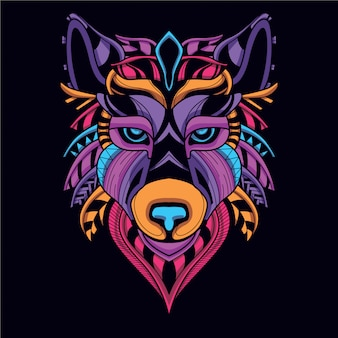 Decorative  wolf head in glow neon color