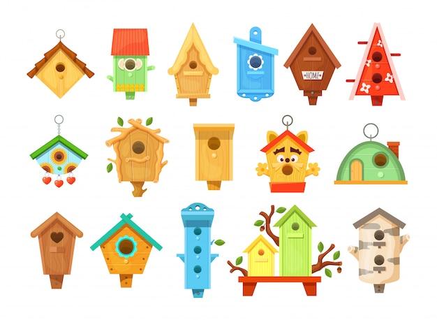 Decorative wooden spring bird houses. garden birdhouses for feeding birds.