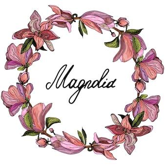 Декоративный венок из розовых магнолий нежная открытка-приглашение на свадьбу и день рождения