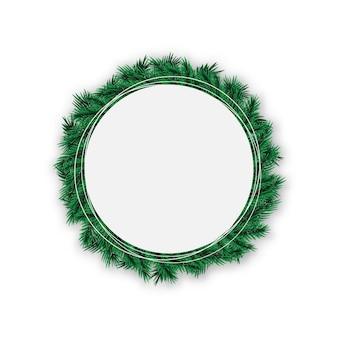 リアルなモミの木の枝を持つ装飾的な花輪