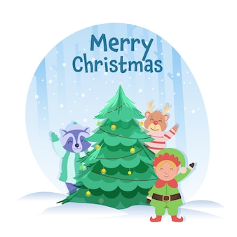 메리 크리스마스 개념에 대 한 파란색과 흰색 눈 덮인 배경에 만화 요정, 너구리, 순 록 장식 크리스마스 트리.