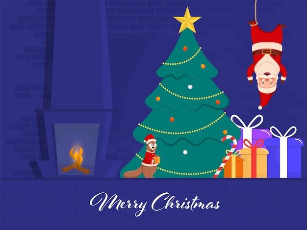 逆さまにぶら下がっている漫画のサンタと装飾的なクリスマスツリー