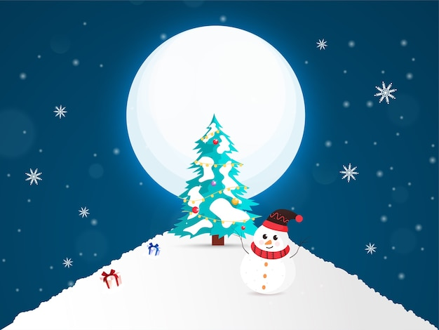 Decorative xmas tree with cartoon snowman and gift boxes on full moon snowy background