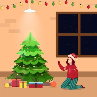 Decorative xmas tree with cheerful girl character and gift boxes on interior view background