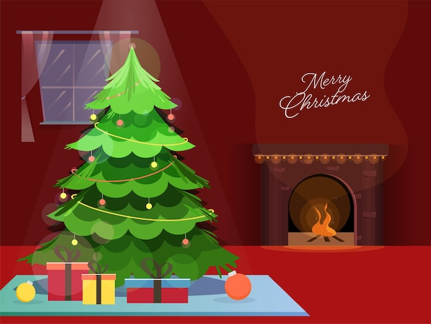 Decorative xmas tree with gift boxes and fire place on red background for merry christmas celebration.