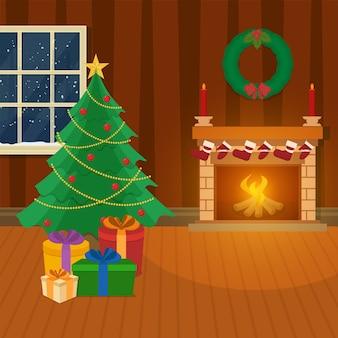 Декоративное рождественское дерево с подарочными коробками, венком и камином на коричневом фоне интерьера.