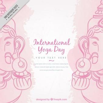 Decorative yoga background with ganpati