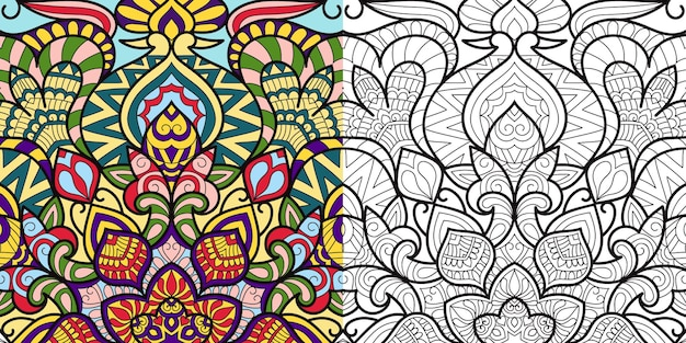 Decorative zentangle colouring book page for adults and children