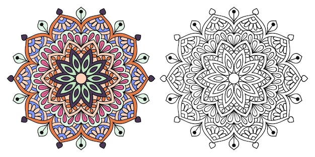 Decorative zentangle mandala colouring book page