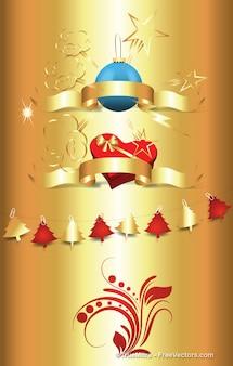 Decorativi ornamenti di natale su sfondo oro