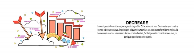 Decrease financial fall business concept horizontal web banner template