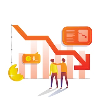 Decrease rate and lost income flat illustration