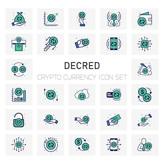 Decred crypto currency icons set