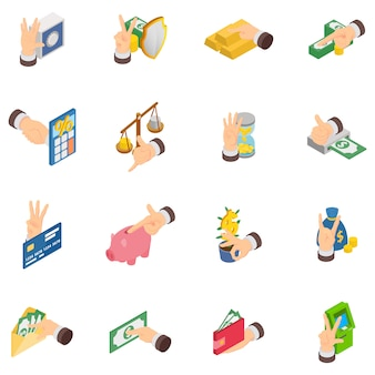 Decree icons set, isometric style