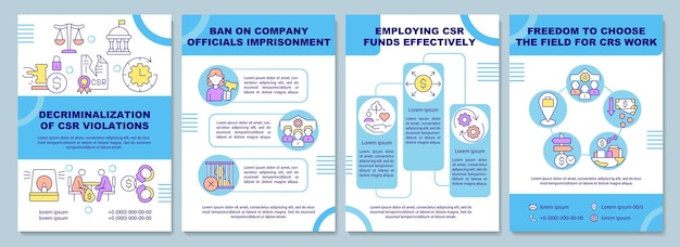 Decriminalization of csr violations brochure template. flyer, booklet, leaflet print, cover design with linear icons. vector layouts for presentation, annual reports, advertisement pages