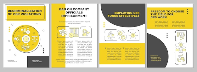 Decriminalization of csr violations yellow brochure template. flyer, booklet, leaflet print, cover design with linear icons. vector layouts for presentation, annual reports, advertisement pages