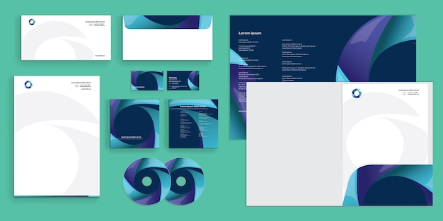 Deep blue abstract circle turn branding modern corporate business identity stationary