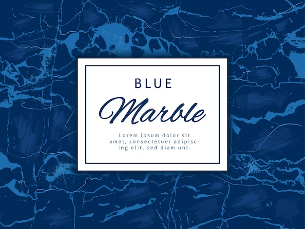 Deep blue marble vector background with banner. luxury style classic vector banner.