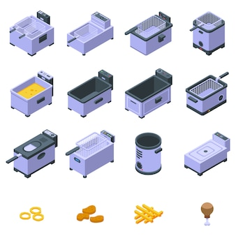 Deep fryer icons set