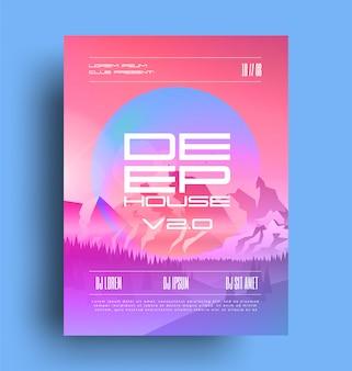 Ночной клуб deep house music party плакат шаблон флаер с глубоким названием дома и горы